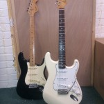 A pair of classic style Strats